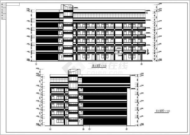 安徽省某大学六层框架结构教学楼建筑工程设计CAD图(含建筑设计说明)-图二