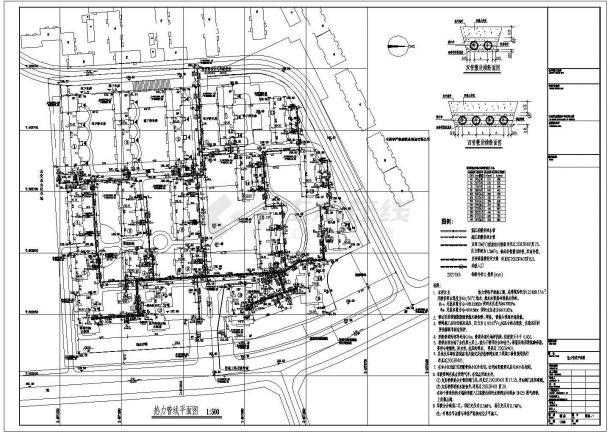 热力管线设计_某小区热力管线平面CAD图-图一