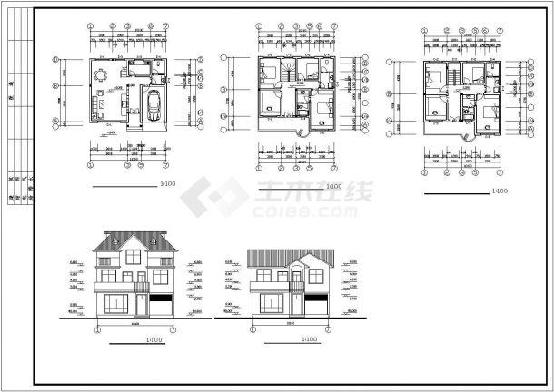 经典的二三层砖混结构单体乡村别墅平立面设计CAD图纸(10套方案)-图一