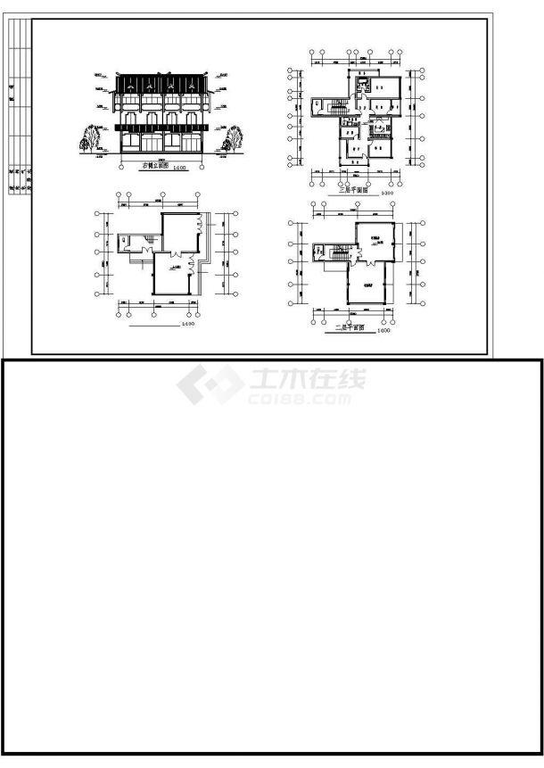 经典的二三层砖混结构单体乡村别墅平立面设计CAD图纸(10套方案)-图二