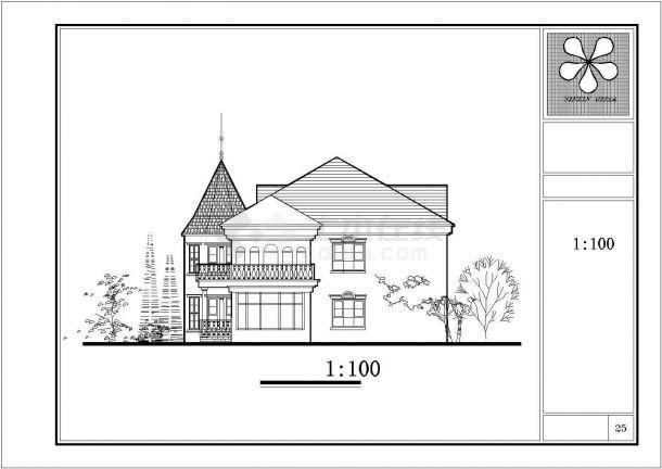 徐州市某村镇3层高档私人乡村别墅建筑设计CAD图纸(含庭院布置图)-图一