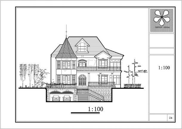 徐州市某村镇3层高档私人乡村别墅建筑设计CAD图纸(含庭院布置图)-图二