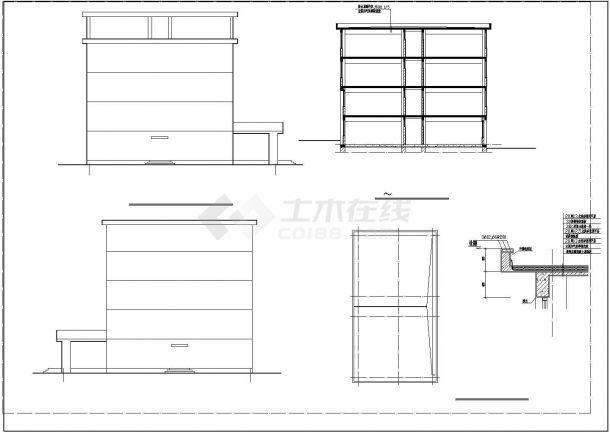 某五层框架教学楼建筑结构毕业设计CAD建筑设计施工图-图二