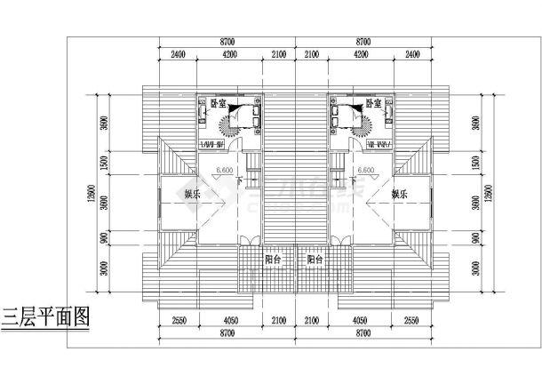 岳阳市某现代村镇269平米3层框架结构独栋别墅平面设计CAD图纸-图一