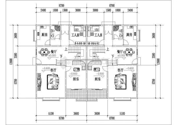 岳阳市某现代村镇269平米3层框架结构独栋别墅平面设计CAD图纸-图二