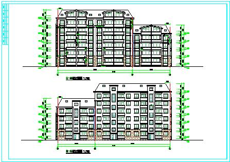 某六层板式住宅建筑方案cad设计图-图二