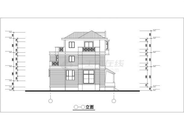 漳州市城禾新村某3层框架结构别墅建筑设计CAD图纸(含半地下室)-图二