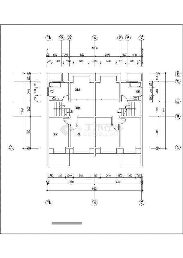 南京市新桥花园小区2层框混连体别墅建筑设计CAD图纸(含夹层)-图一