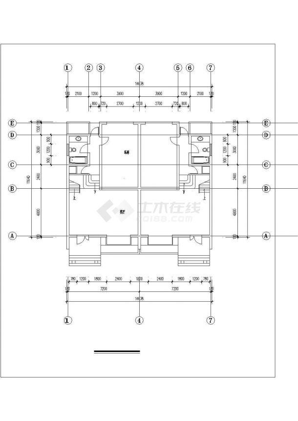 南京市新桥花园小区2层框混连体别墅建筑设计CAD图纸(含夹层)-图二