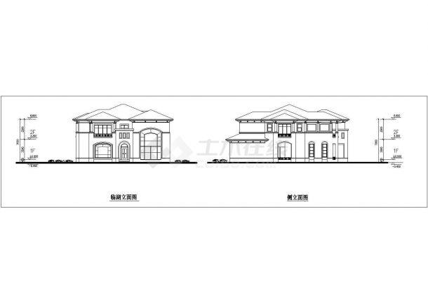合肥某村镇386平米双层砖混结构单体别墅建筑设计CAD图纸(含效果图)-图二
