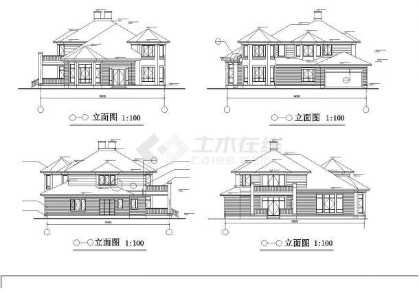 成都市高云别墅区367平米2层砖混结构高档私人别墅建筑设计CAD图纸-图二