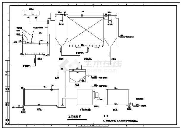 某市礦井水回用及生活污水處理工程施工cad圖,共十六張-圖一