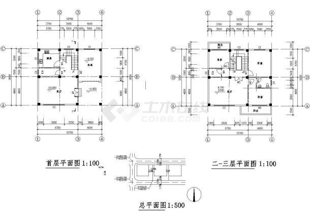 杭州市拱墅区某现代村镇3层砖混单体别墅建筑设计CAD图纸(含天面层)-图二