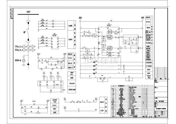 10KV一次系统图,及全套二次原理图 cad-图一