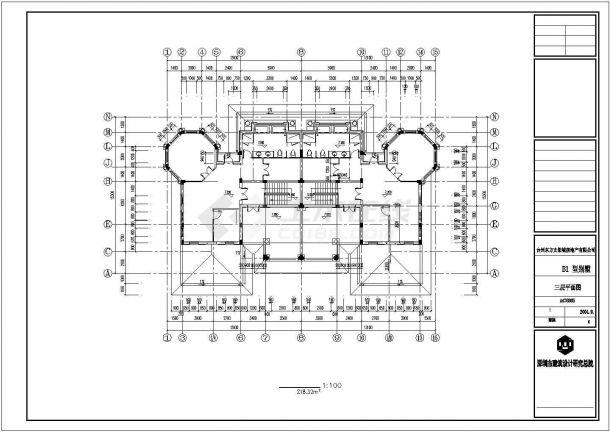 黄山市渭西村某800平米3层混合结构单体乡村别墅建筑设计CAD图纸-图一