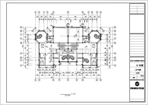 黄山市渭西村某800平米3层混合结构单体乡村别墅建筑设计CAD图纸-图二