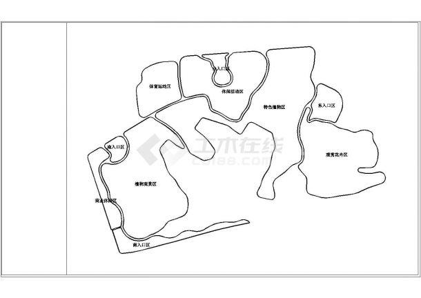 四川某县城公园景观设计cad施工图-图一
