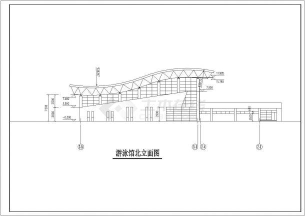 大型游泳馆整套建筑方案图纸-图二