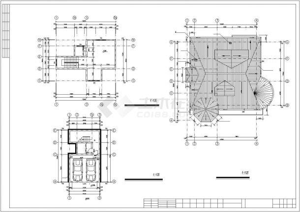 绵阳市星湖村某3层框混结构高档别墅平面设计CAD图纸(含车库层)-图一