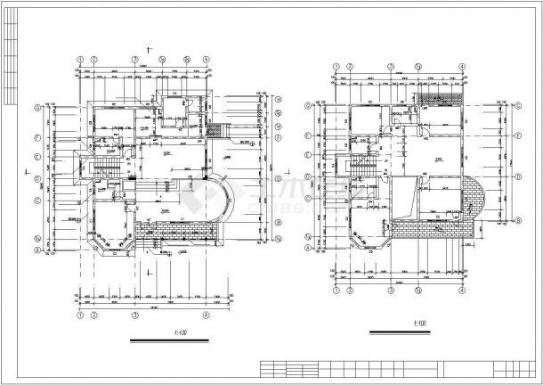绵阳市星湖村某3层框混结构高档别墅平面设计CAD图纸(含车库层)-图二