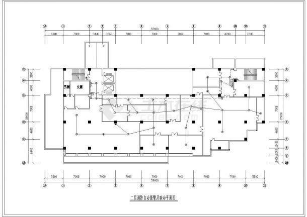 某地区八层消防自动报警及联动平面CAD图-图一