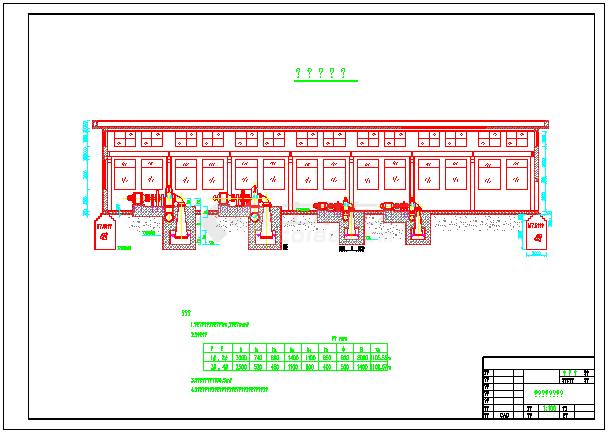 小型水利电站厂房剖面cad设计图纸-图一
