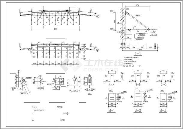 办公楼设计_某砖混结构办公楼施工cad设计图-图一