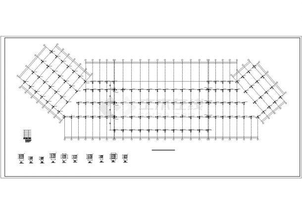 某地商用楼框架结构设计施工cad图纸-图一