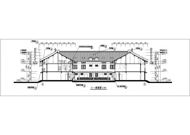 成都市某大型度假村2层框混结构民居别墅楼立剖面设计CAD图纸-图一