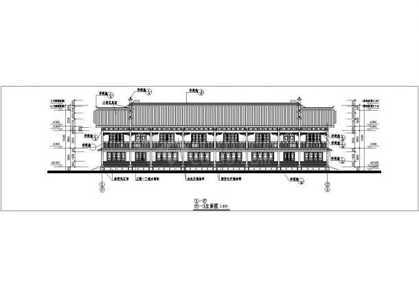 成都市某大型度假村2层框混结构民居别墅楼立剖面设计CAD图纸-图二