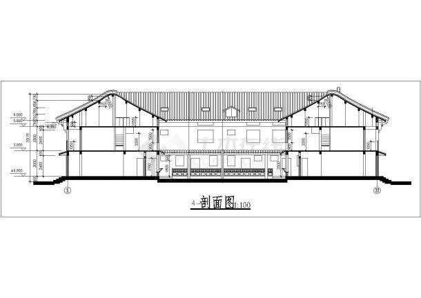 苏州市姑苏区某度假区2层框混结构民居别墅楼立剖面设计CAD图纸-图一