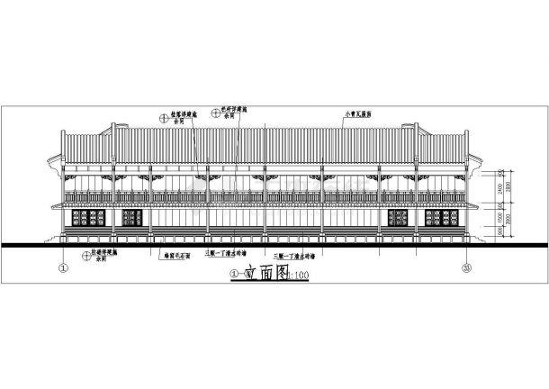 苏州市姑苏区某度假区2层框混结构民居别墅楼立剖面设计CAD图纸-图二