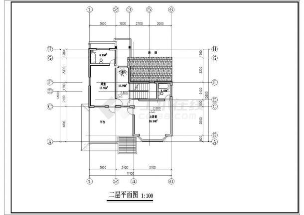 徐州市南井村某2层砖混结构单体别墅平面设计CAD图纸(含效果图)-图一