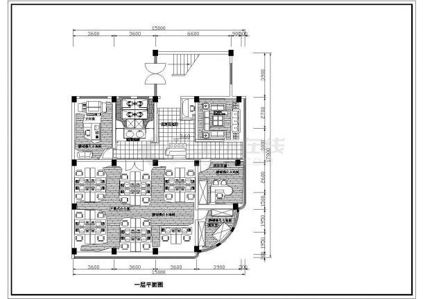 办公楼设计_某电脑软件开发公司三层办公楼室内装修设计cad全套施工图(含设计说明)-图二