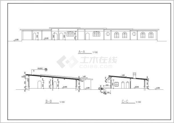 重庆市某村镇幼儿园800平米单层砖混结构教学楼平立面设计CAD图纸-图二