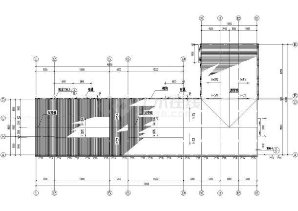 某生产车间建筑平立剖面设计cad施工图-图一