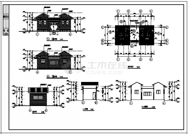 某公园单层砖混结构公共厕所建筑施工cad图_公共厕所施工-图二