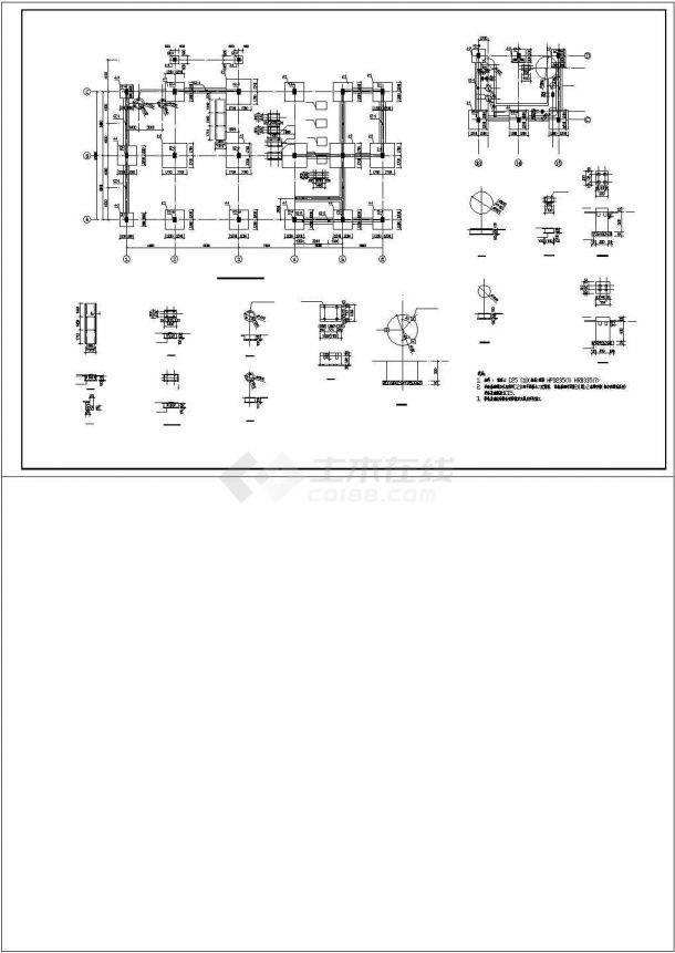 厂房设计_某地区2层联合厂房框架结构设计施工详细方案CAD图纸-图二