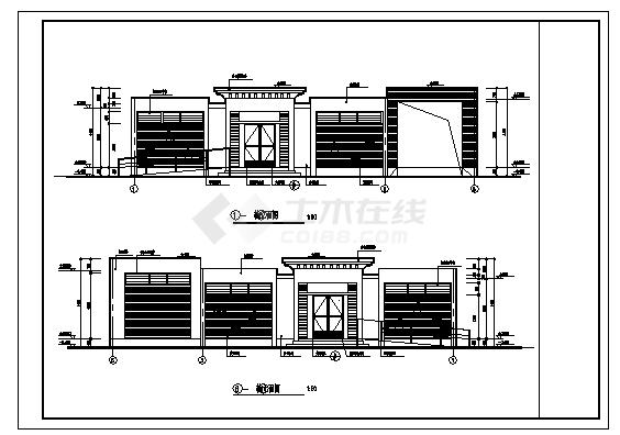 公厕设计_200平米某市单层砖混结构土建公厕建筑设计cad图纸-图二