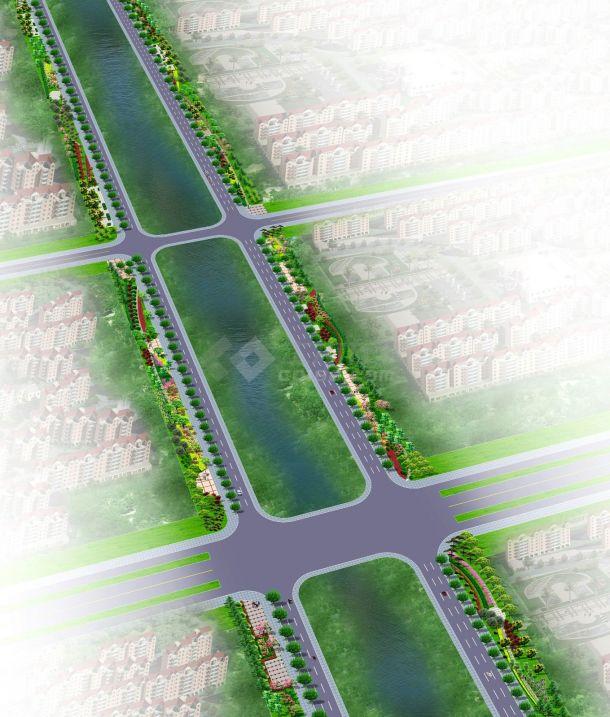 经典道路景观绿化规划设计jpg效果图图集(含多个设计)-图二