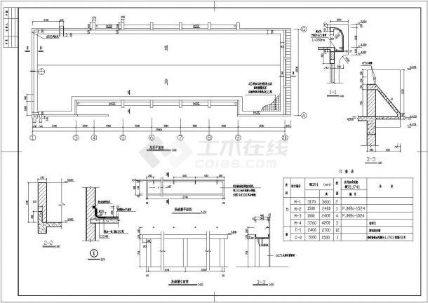 某大学单层食堂全套建筑施工设计cad图【平立剖 节点图】-图一