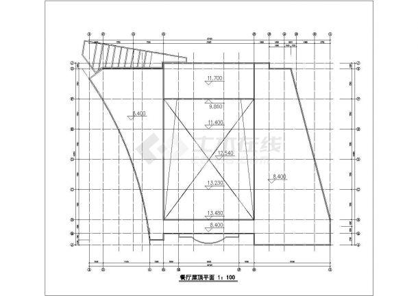 【苏州】2层公立中学校餐厅全套建筑设计cad图【平立剖】-图一