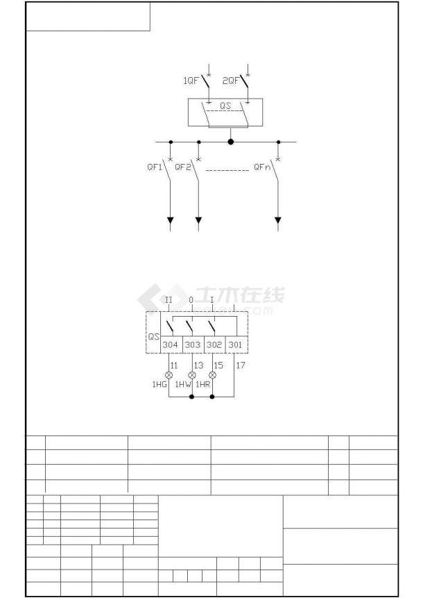 水泵电气原理图cad图纸-图一