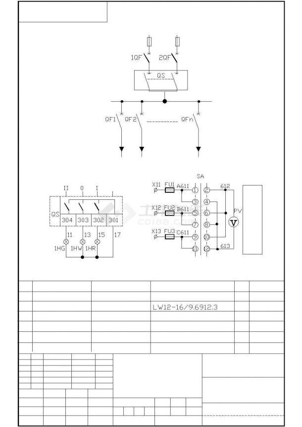 水泵电气原理图cad图纸-图二