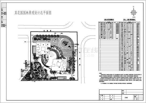 某花园小区景观绿化规划设计cad总平面施工图(含设计说明)-图一