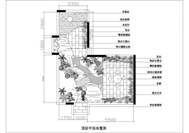 某砖混结构多层住宅楼屋顶花园绿化规划设计cad平面布置图-图一