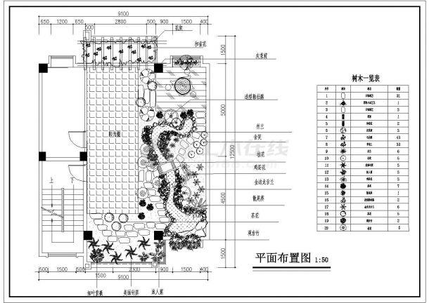 某砖混结构多层住宅楼屋顶花园绿化种植设计cad施工平面图-图一