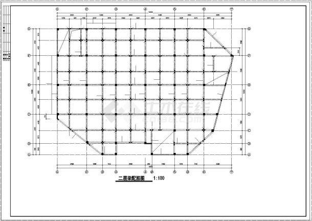 某商城框架结构设计cad施工图-图一