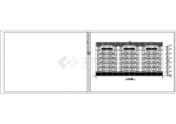 长44.4米宽13.9米六层加1阁楼层框架结构设计cad图-图一