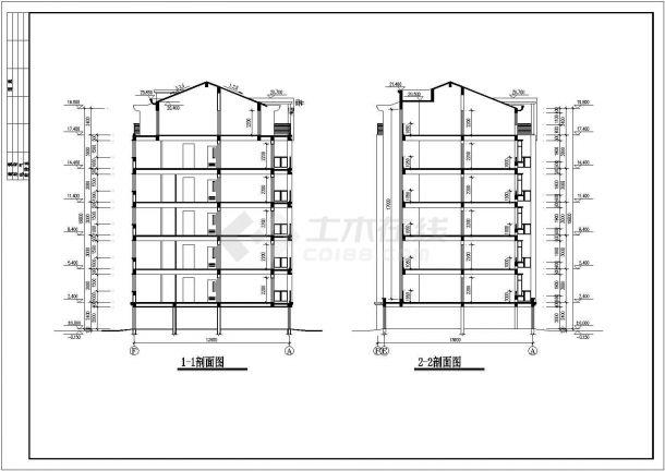 长44.4米宽13.9米六层加1阁楼层框架结构设计cad图-图二